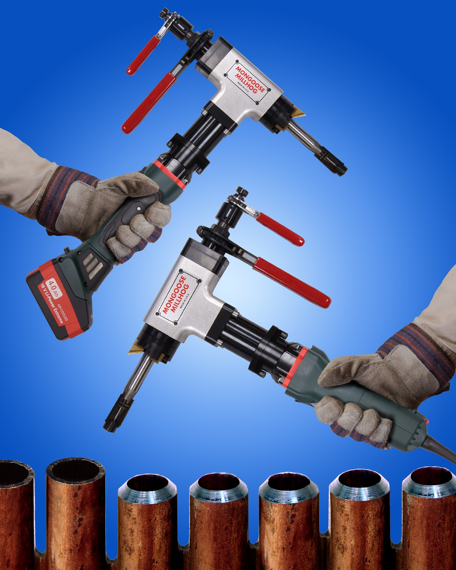 TUBE AND PIPE BEVELING TOOLS OFFERED IN BATTERY AND ELECTRIC MODELS