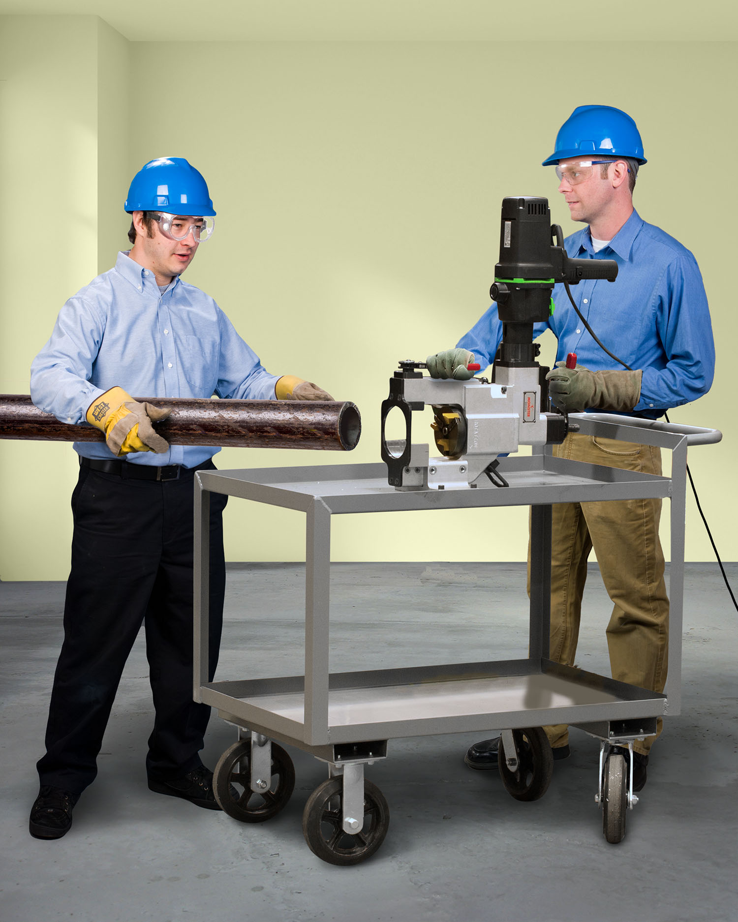 TUBE AND PIPE BEVELER MOUNTS ON CART FOR TOTAL MOBILITY