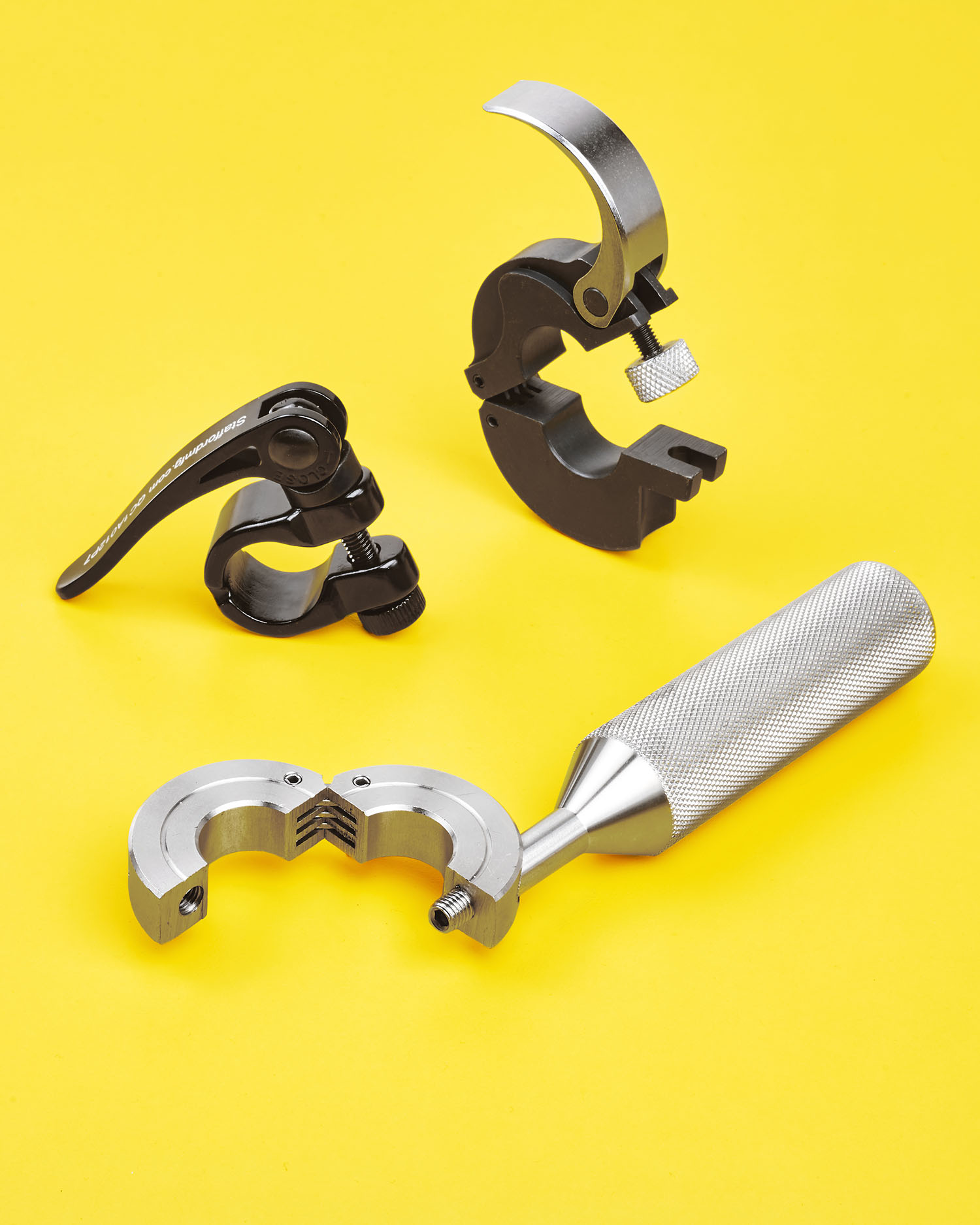 QUICK-RELEASE CLAMP COLLARS 3 DESIGNS ATTACH & ADJUST WITHOUT TOOLS