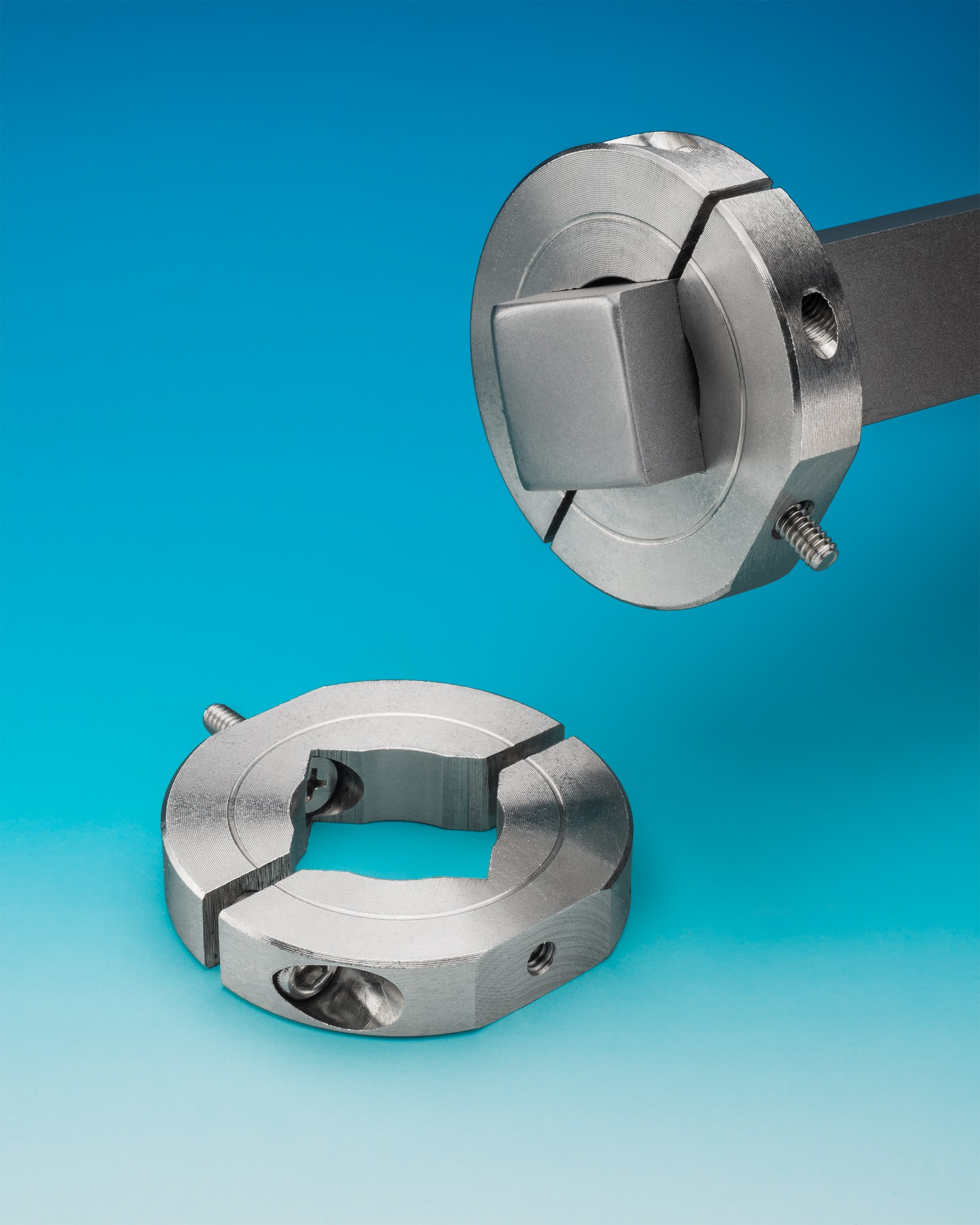 SQUARE BORE MOUNTING COLLAR DESIGNED FOR SQUARE SHAFTS AND TUBING