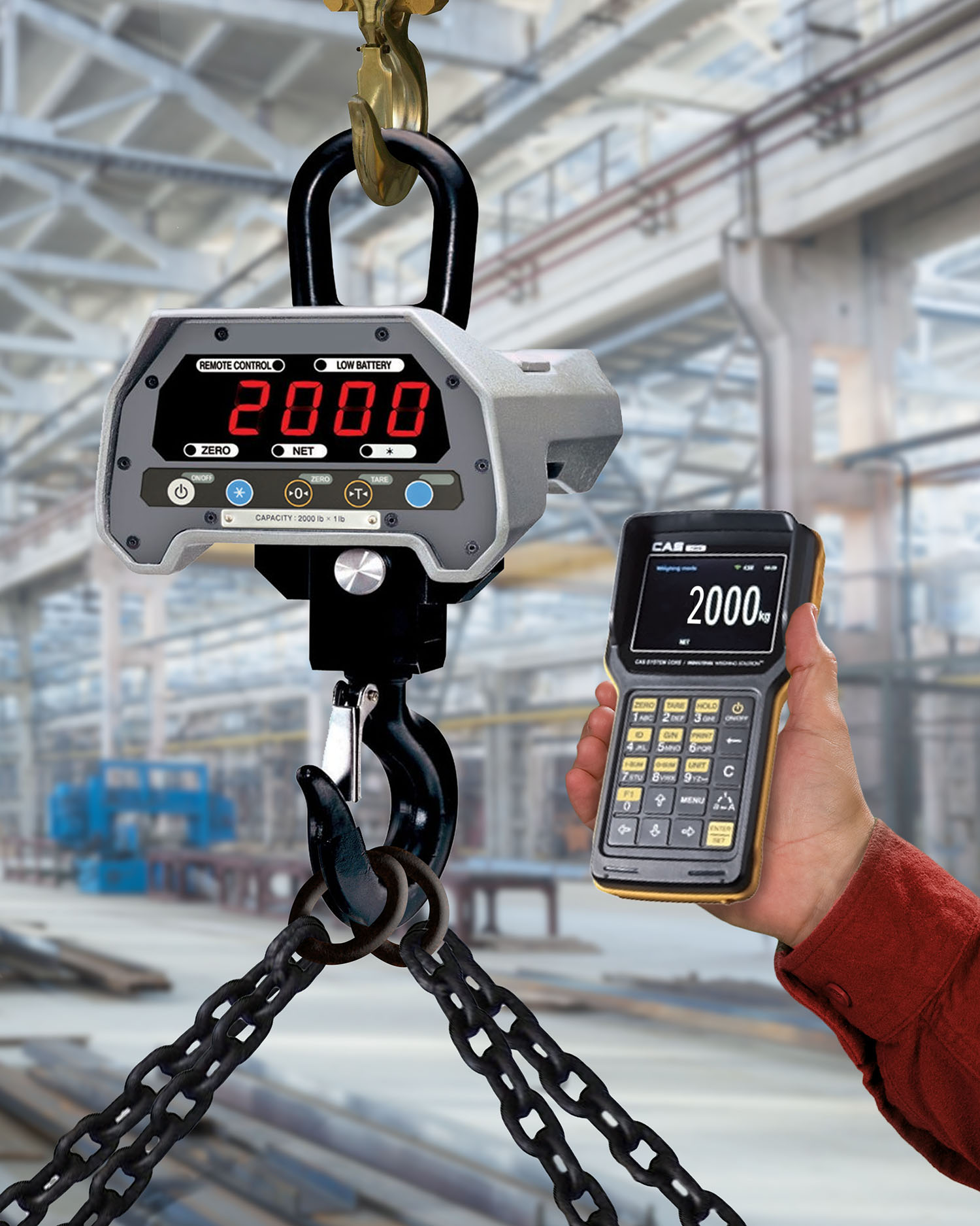 INDUSTRIAL CRANE SCALE FEATURES BLUETOOTH HANDHELD INDICATOR